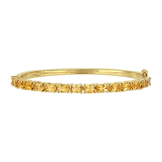 Genuine Yellow Citrine 18K Gold Over Silver Bangle Bracelet