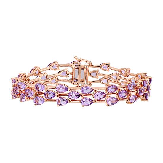18K Rose Gold Over Silver Solid Link Bracelet
