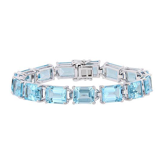 Genuine Blue Topaz Sterling Silver Tennis Bracelet
