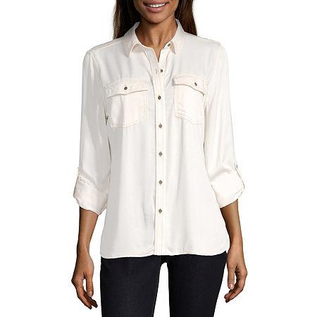 a.n.a Womens Long Sleeve Regular Fit Button-Down Shirt, Small , Beige
