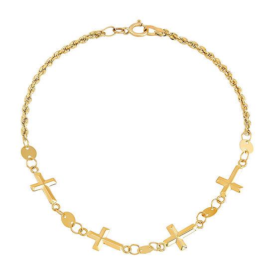 Religious Jewelry 14K Gold 7 Inch Hollow Cross Link Bracelet