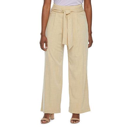 Worthington Regular Fit Wide Leg Trouser, 8 , Beige