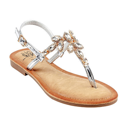GC Shoes Womens Gypsy Adjustable Strap Flat Sandals, 7 Medium, Silver