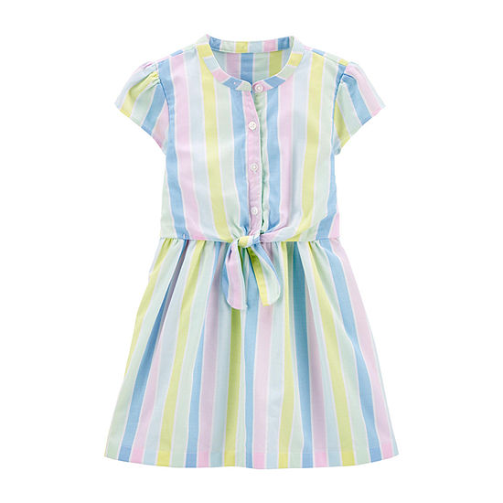 Carter's Toddler Girls Short Sleeve Striped A-Line Dress