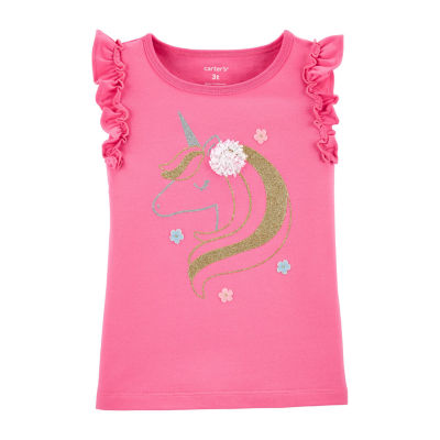 Carter's Toddler Girls Round Neck Sleeveless Graphic T-Shirt