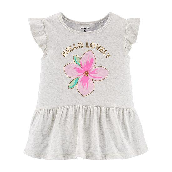 Carter's Toddler Girls Round Neck Short Sleeve Peplum Top