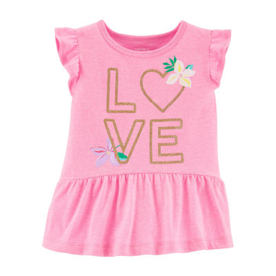 Carter's - Toddler Girls Round Neck Short Sleeve Peplum Top