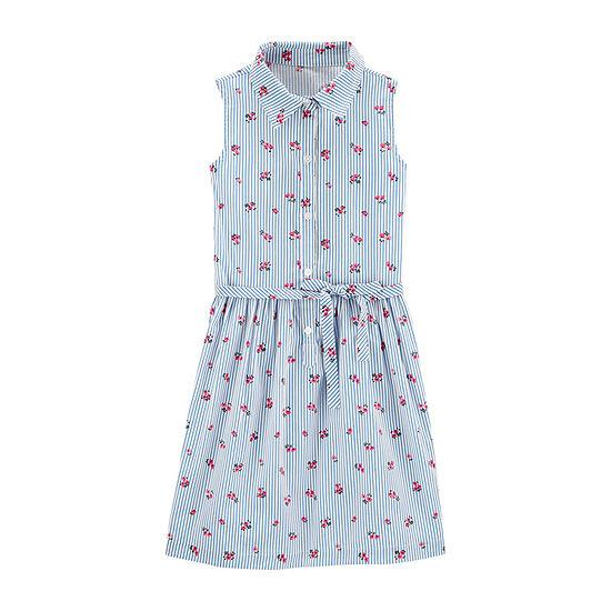 Carter's Little & Big Girls Belted Sleeveless Shirt Dress