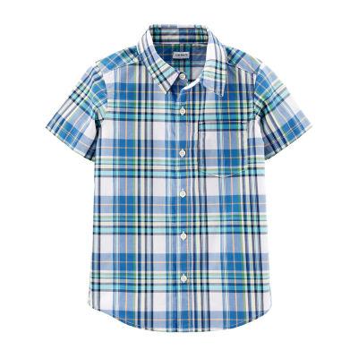 Carter's Little /Big Kid Boys Short Sleeve Button-Front Shirt