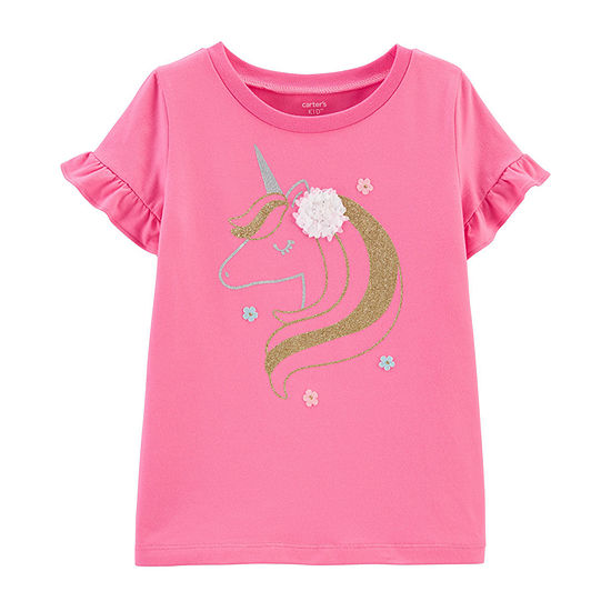 Carter's Little & Big Girls Round Neck Short Sleeve Graphic T-Shirt