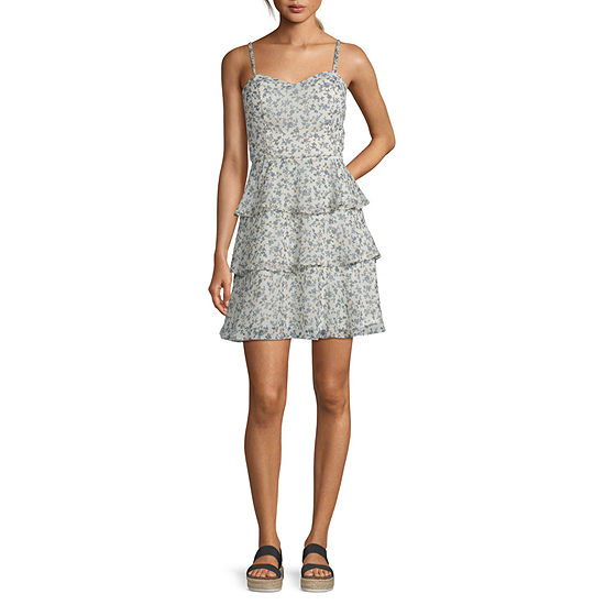 by&by-Juniors Spaghetti Strap Dots Wrap Dress