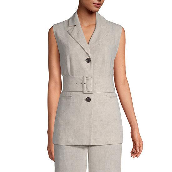 Worthington Womens Belted Vest Jacket - Tall