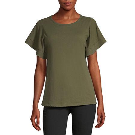 Worthington-Womens Round Neck Short Sleeve T-Shirt, X-small , Green