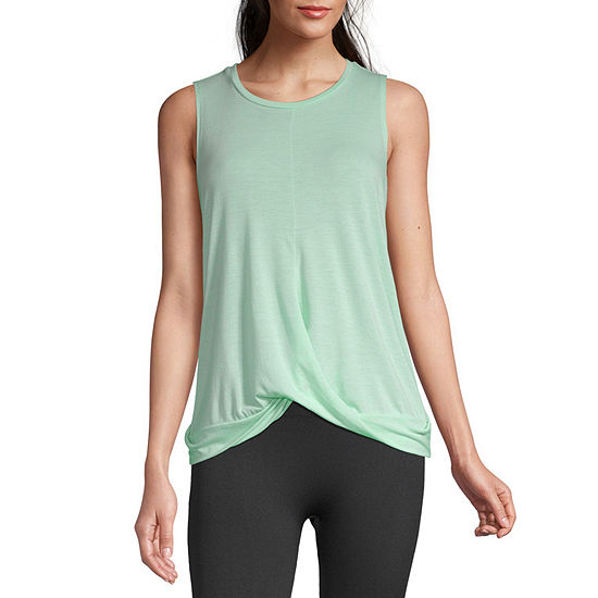 Xersion Womens Crew Neck Front Twist Tank Top