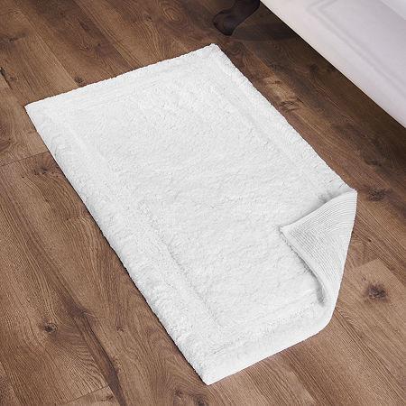 Fieldcrest Luxury Border Stripe Bath Rug, One Size , White