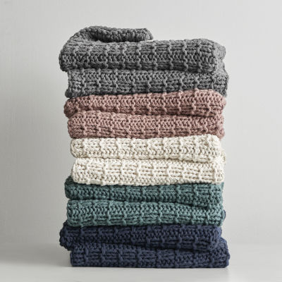 Fieldcrest Luxury Chunky Cotton Knit Midweight Throw