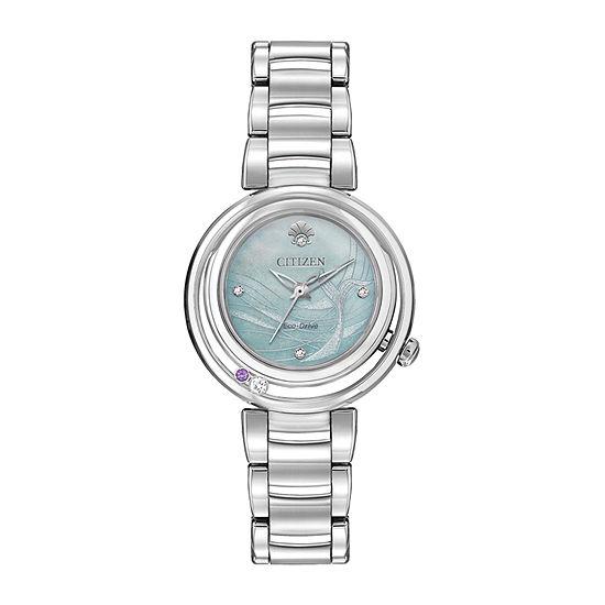 Citizen Disney Ariel Womens Silver Tone Stainless Steel Bracelet Watch - Em0820-56n
