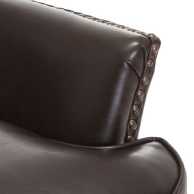 Tafton Bonded Leather Tufted Wing Chair