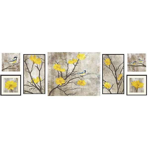 Yellow Botanical Set of 7 Wall Décor