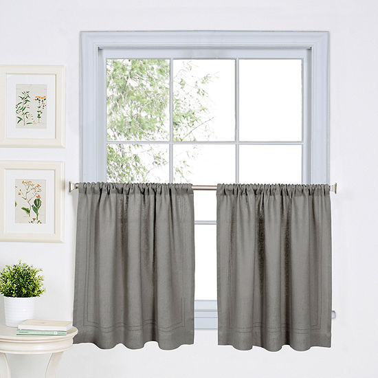 Home expressions marin 2 pc rod pocket kitchen curtain - Jcpenney bathroom window curtains ...