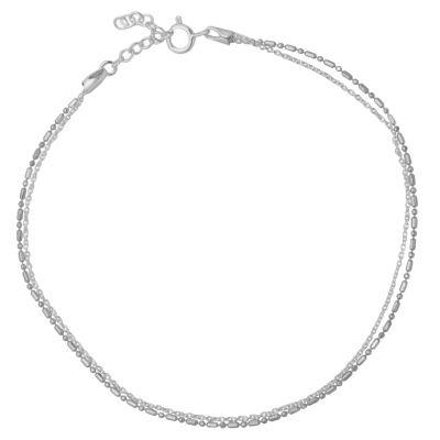 Itsy Bitsy Itsy Bitsy Sterling Silver Anklet Silver Tone Sterling Silver 9 Inch Semisolid Bead Ankle Bracelet