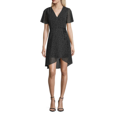 My Michelle Short Sleeve Dots Wrap Dress-Juniors