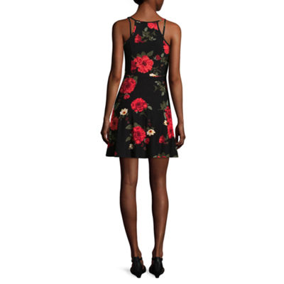 Derek Heart Sleeveless Skater Dress-Juniors