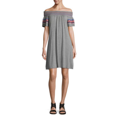 Off The Shoulder Embroidered Knit Dress