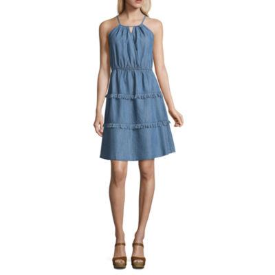 Spense Fringe Denim Dress
