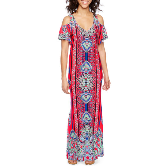 MSK Short Sleeve Cold Shoulder Scroll Maxi Dress