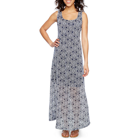 Ronni Nicole Sleeveless Burnout Print Maxi Dress