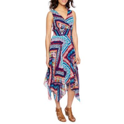 Rabbit Rabbit Rabbit Design Sleeveless Chevron Hanky Hem Dress