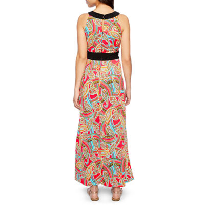 Ronni Nicole Sleeveless Embellished Paisley Maxi Dress