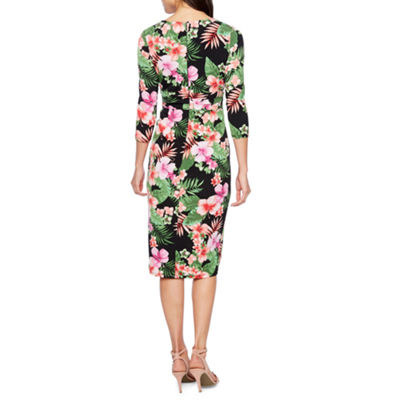 Melrose 3/4 Sleeve Floral Sheath Dress