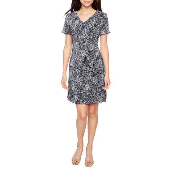 Connected Apparel Short Sleeve Tiered Sheath Dress