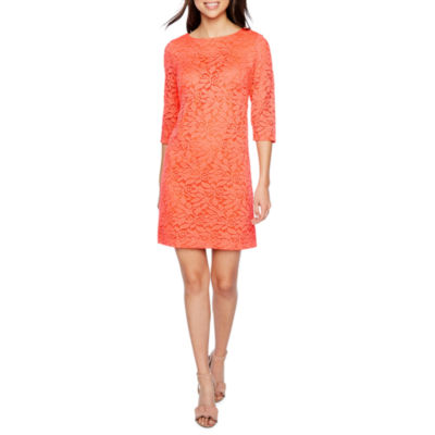 Studio 1 3/4 Sleeve Floral Lace Shift Dress