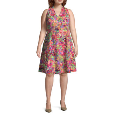 London Times Sleeveless Floral Fit & Flare Dress - Plus