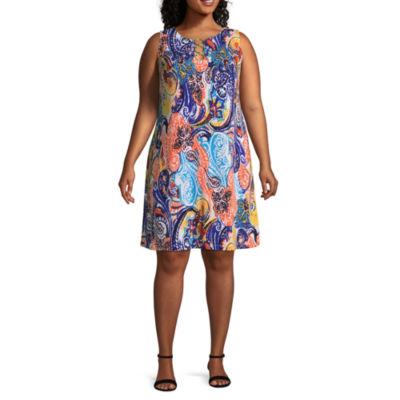 MSK Sleeveless Paisley Shift Dress - Plus