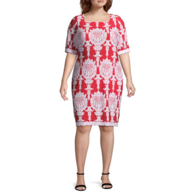 Tiana B Elbow Sleeve Paisley Shift Dress - Plus