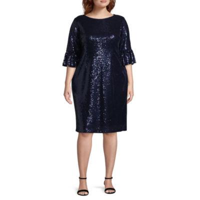 Blu Sage 3/4 Sleeve Sequin Dress - Plus