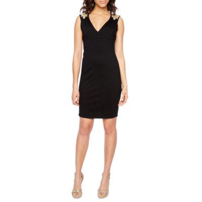 Blu Sage Sleeveless Applique Sheath Dress