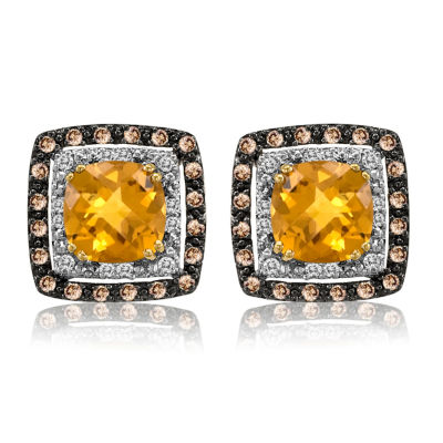 LIMITED QUANTITIES! Le Vian Grand Sample Sale™ Earrings featuring Cinnamon Citrine®, White Sapphire, Chocolate Diamonds® set in 14K Honey Gold™