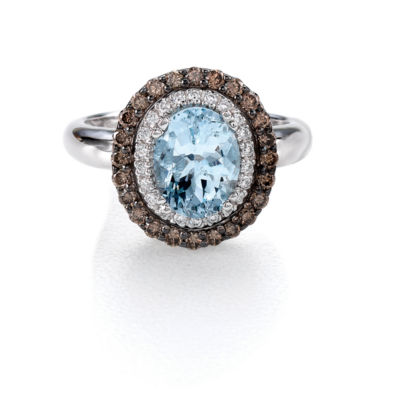 LIMITED QUANTITIES! Le Vian Grand Sample Sale™ Ring featuring Sea Blue Aquamarine®, Chocolate Diamonds®, Vanilla Diamonds® set in 14K Vanilla Gold®