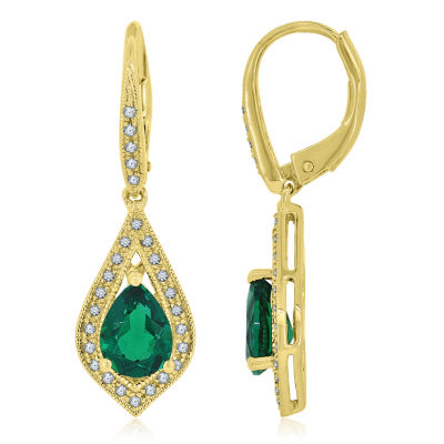 Lab-Created Emerald & Lab-Created White Sapphire 14K Gold Over Silver Drop Earrings