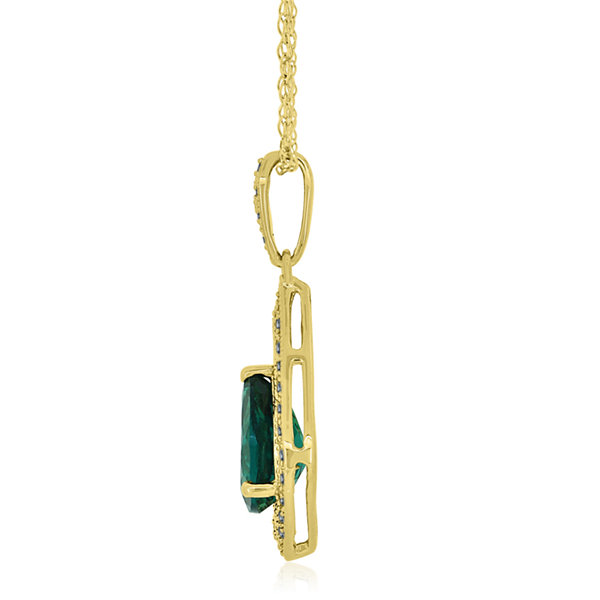 Lab-Created Emerald & Lab-Created White Sapphire 14K Gold Over Silver Pendant Necklace
