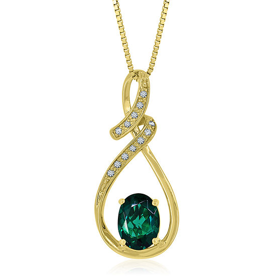 Lab created emerald lab created white sapphire 14k gold over lab created emerald lab created white sapphire 14k gold over silver pendant necklace mozeypictures Image collections