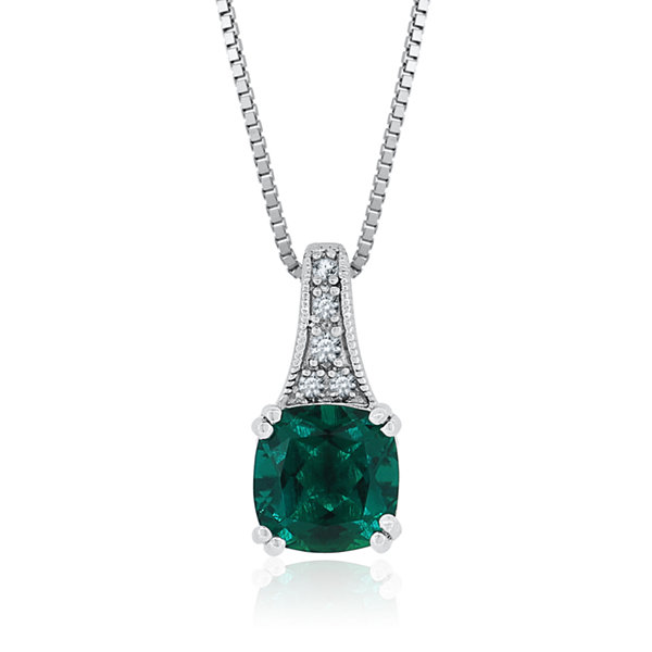 Lab-Created Emerald & Lab-Created White Sapphire Sterling Silver Pendant Necklace