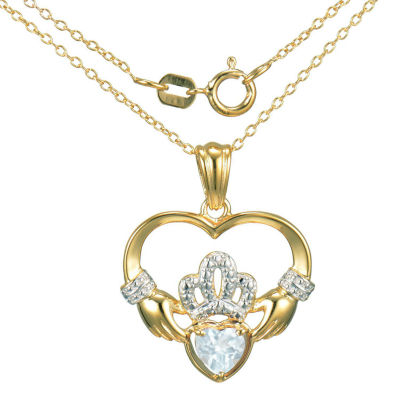 Heart-Shaped Genuine Aquamarine and Diamond-Accent Claddagh Pendant Necklace