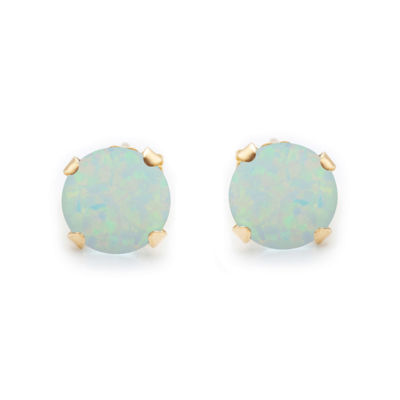 10K Gold Lab-Created Opal 6mm Earrings