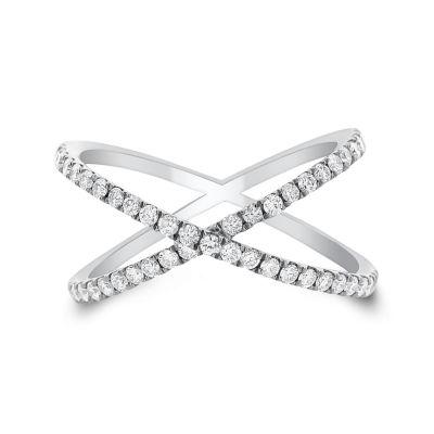 Womens 1/2 CT. T.W. White Diamond 14K Gold Bypass Ring